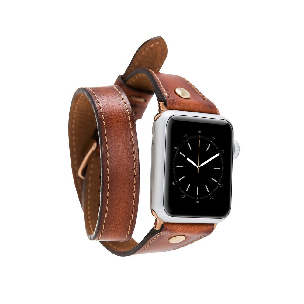 Bouletta Apple Watch Deri Kordon 38-40mm Slim Çift Tur Gold Trok RST2EF Taba
