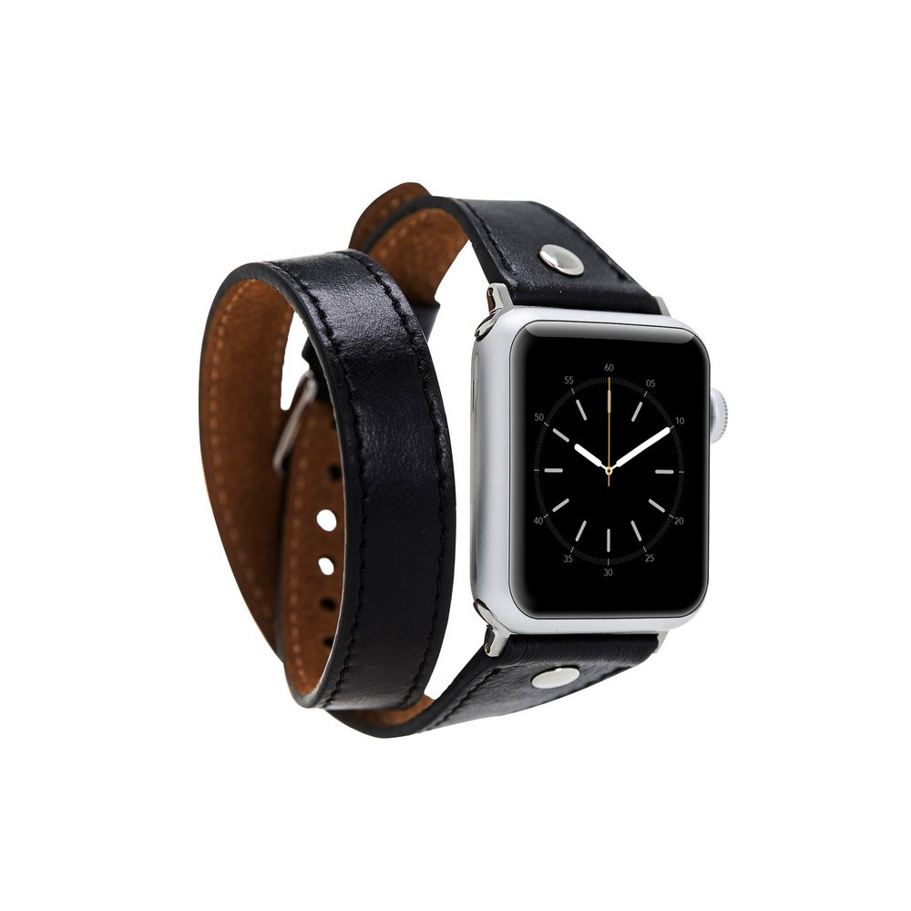 Bouletta Apple Watch Deri Kordon 38-40mm Slim Çift Tur Silver Trok RST1 Siyah