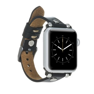 Bouletta Apple Watch Deri Kordon 38-40mm Ferro Silver Trok RST1 Siyah