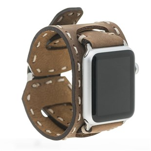 Bouletta Apple Watch Deri Cuff ve Saraç Dikişli Kordon 38/42mm-G6