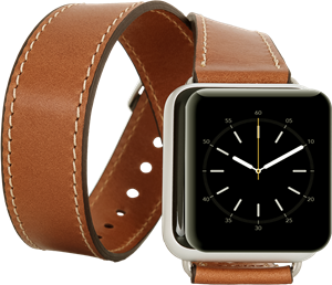 Bouletta Apple Watch Deri Kordon 42-44mm Çift Tur RST2 Taba