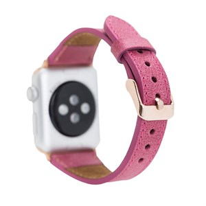 Bouletta Apple Watch Deri Kordon 42-44mm Slim TN08 Pembe