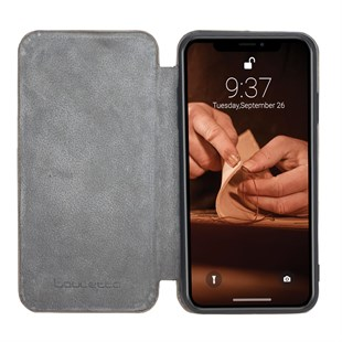 Bouletta Slim Fit Book Case Deri Telefon Kılıfı iPhone XS Max V23 Gri